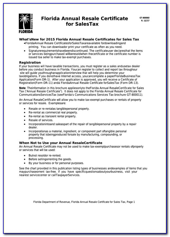 Florida Annual Resale Certificate For Sales Tax Verification