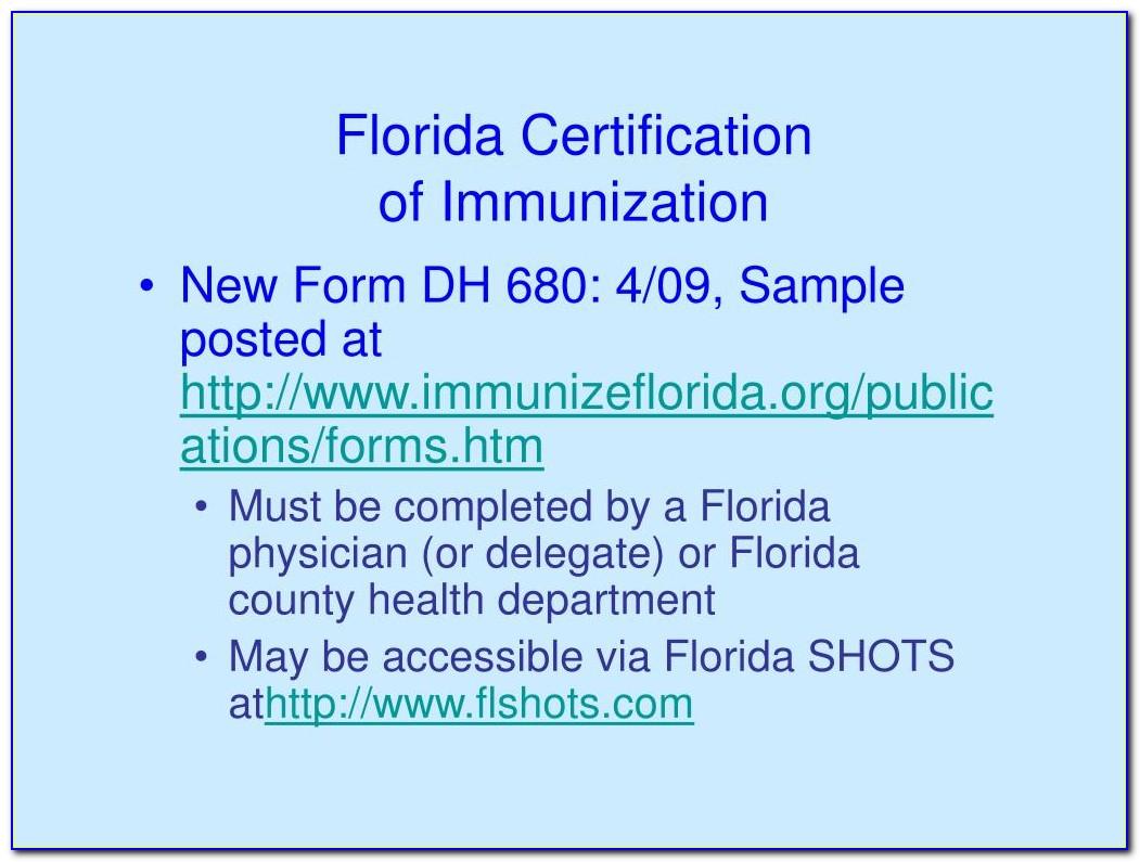 Florida Certification Of Immunization (dh Form 680)