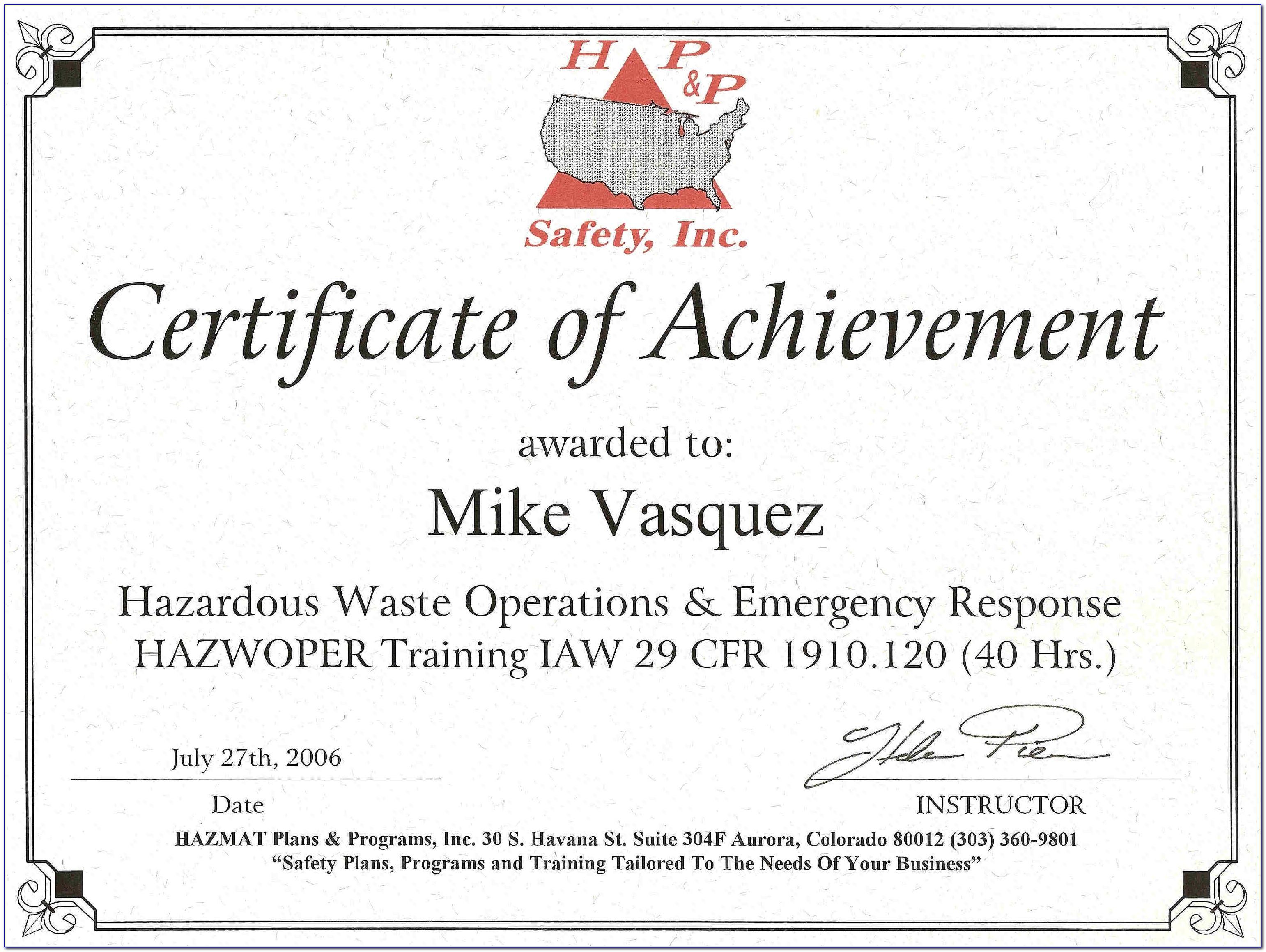 Free 40 Hour Osha Hazwoper Certification