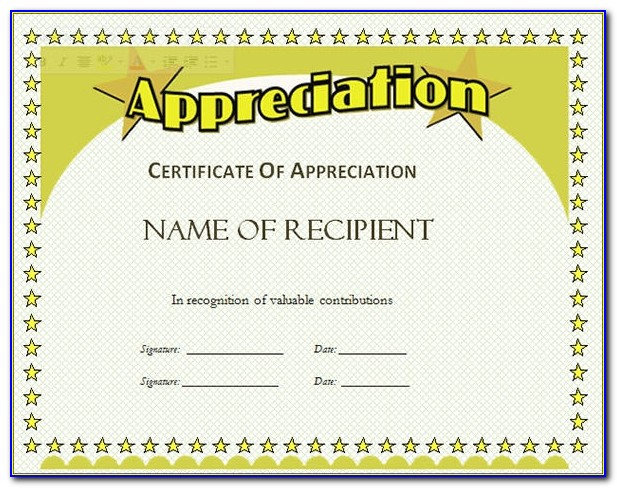 Free Blank Certificate Of Appreciation Templates