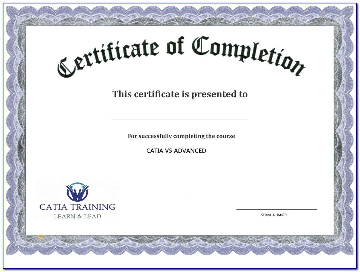 Free Blank Certificates Of Completion