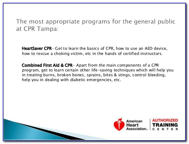 Free Cpr Certification Tampa