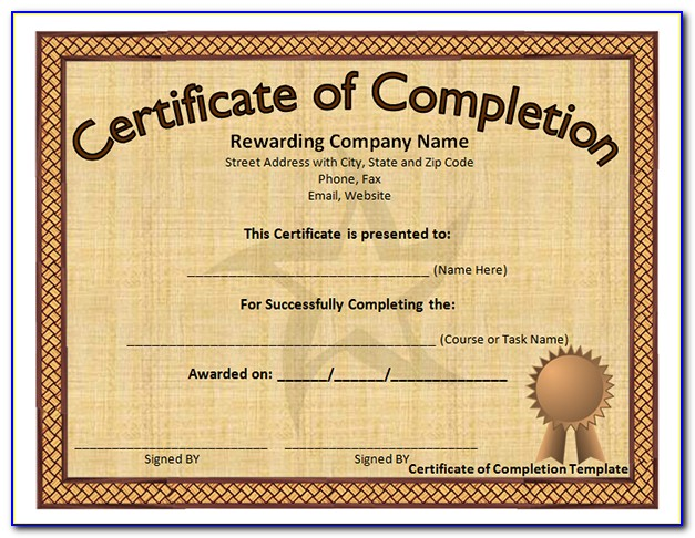 Free Customizable Printable Certificates Of Completion