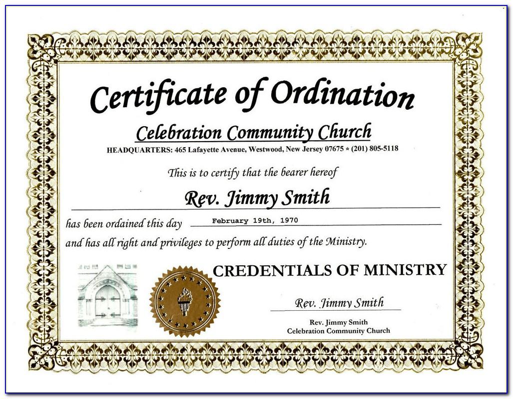 Free Pastor Ordination Certificate