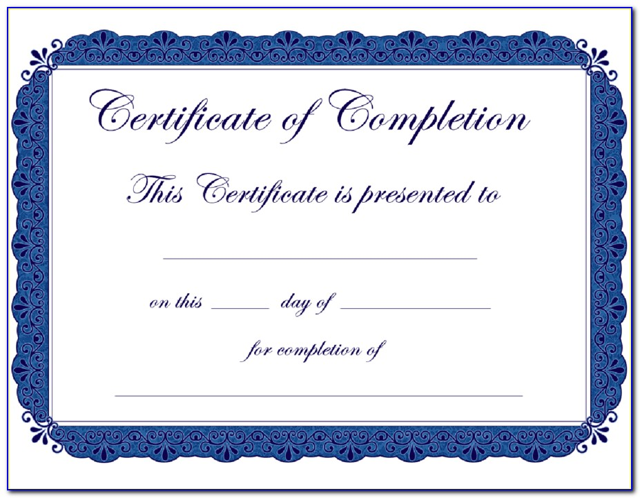 Free Printable Certificates Of Completion Pdf