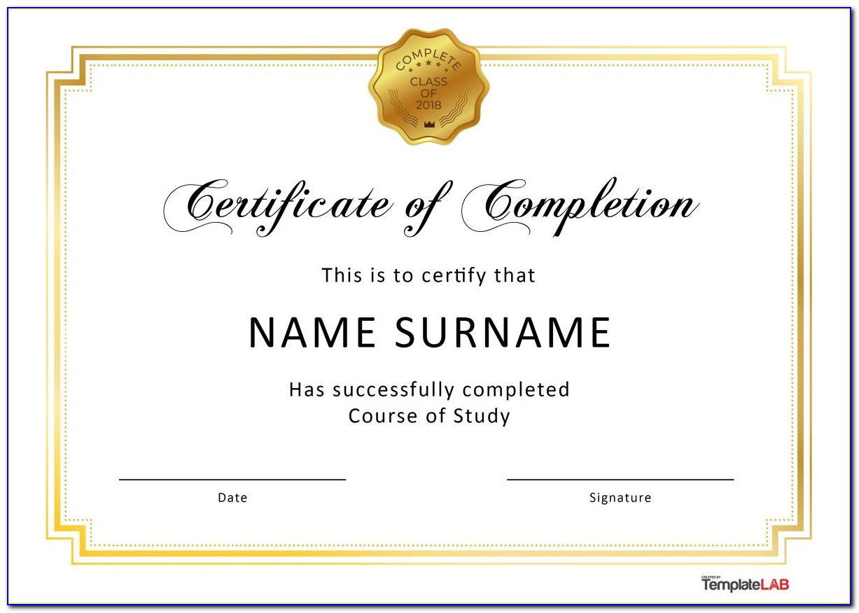Free Printable Certificates Of Completion Templates