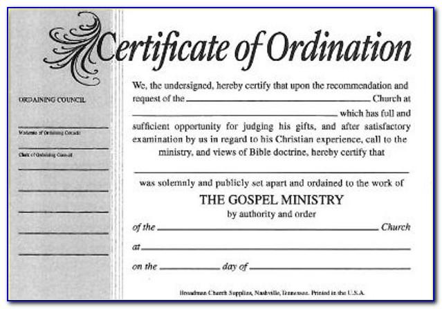 Free Printable Pastor Ordination Certificates