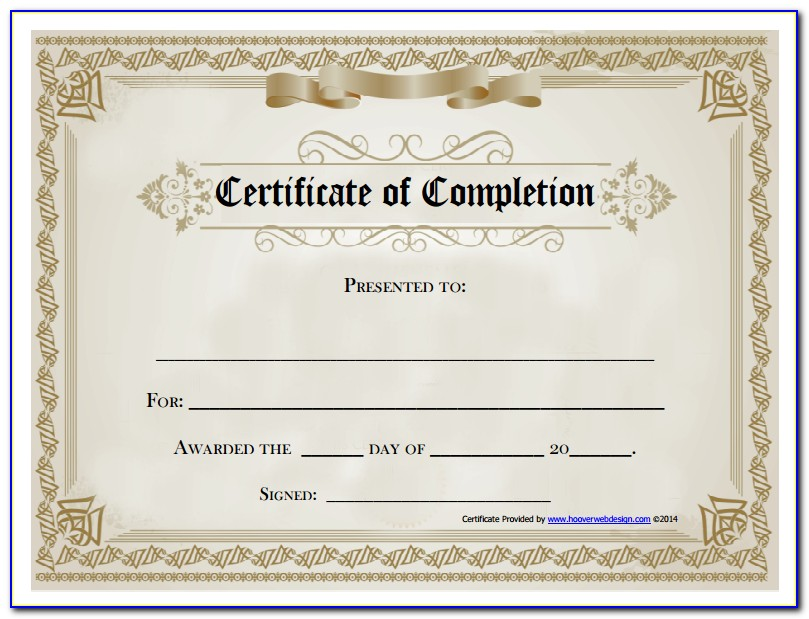 Free Sample Certificates Of Completion