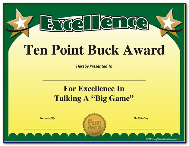 Funny Award Certificates For Coworkers