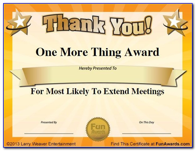 Funny Award Certificates For Friends