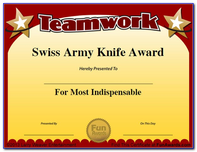 Funny Award Certificates For Staff