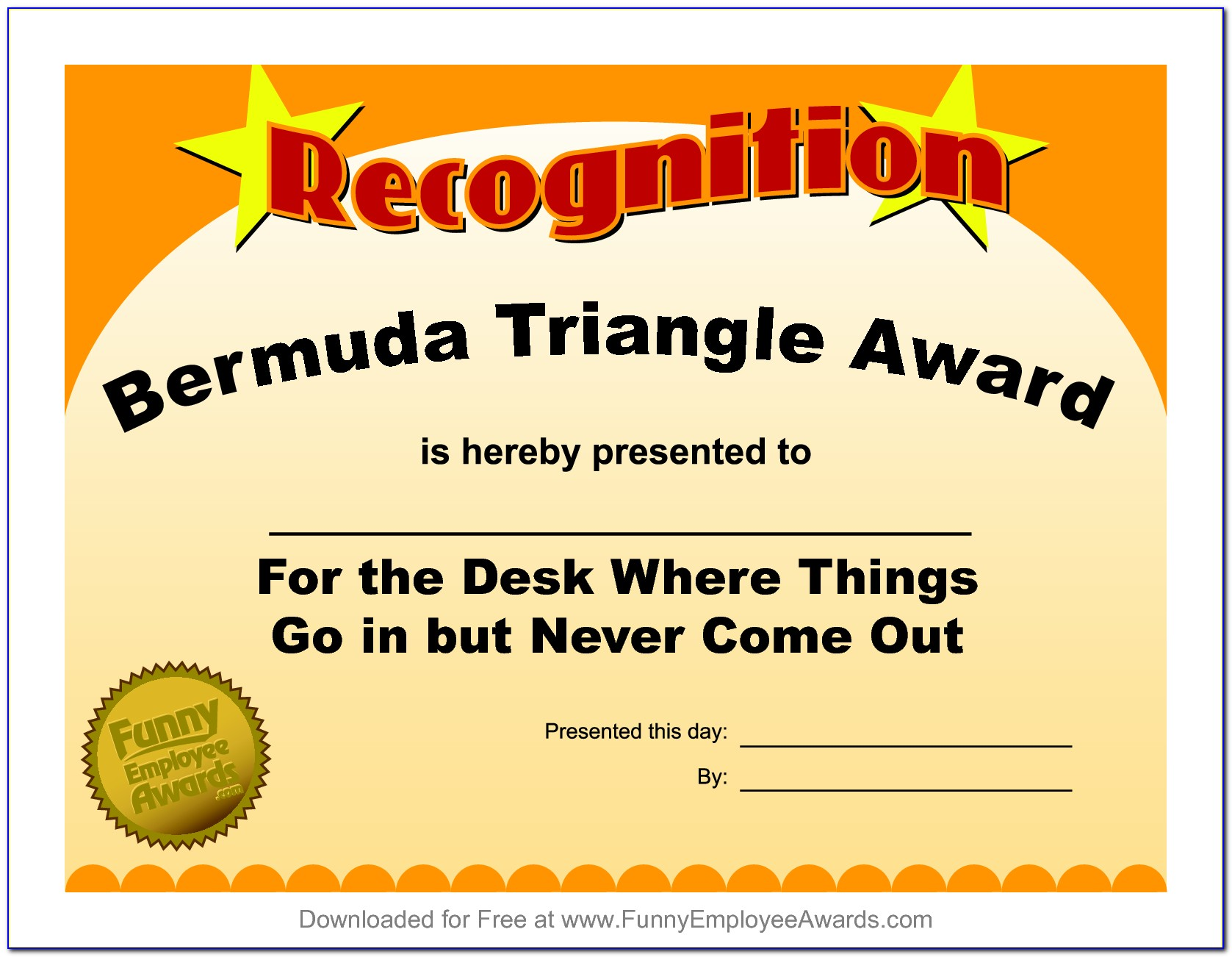Funny Award Certificates For Students