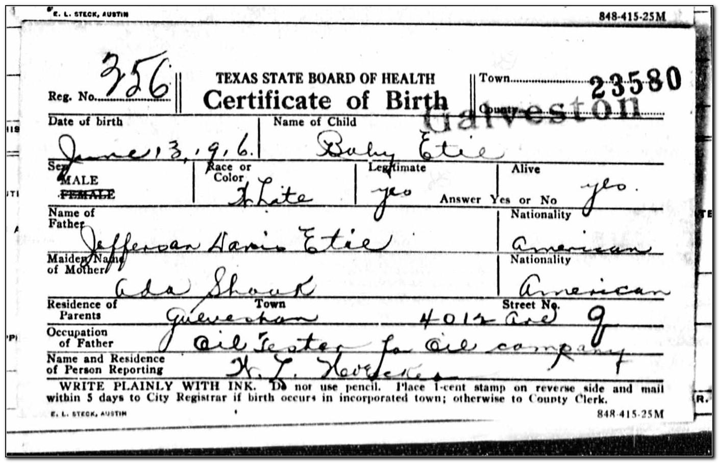 Galveston County Birth Certificate Application