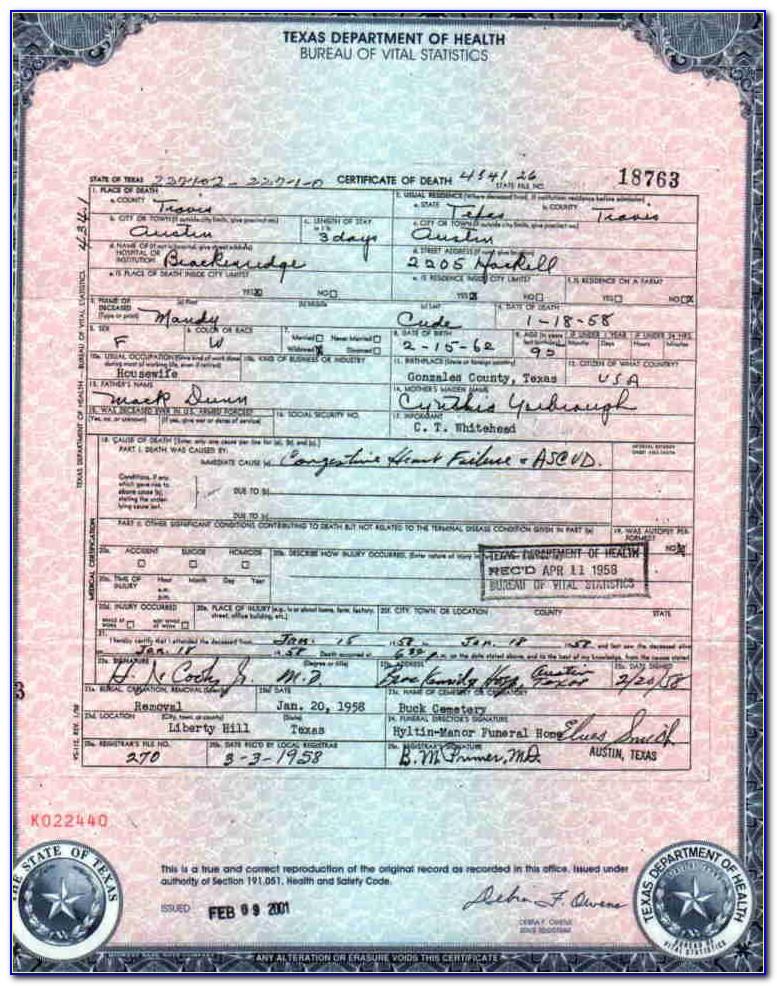 Galveston County Certified Birth Certificate