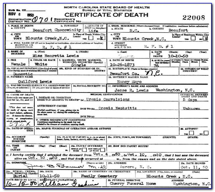 Guilford County Nc Birth Certificate