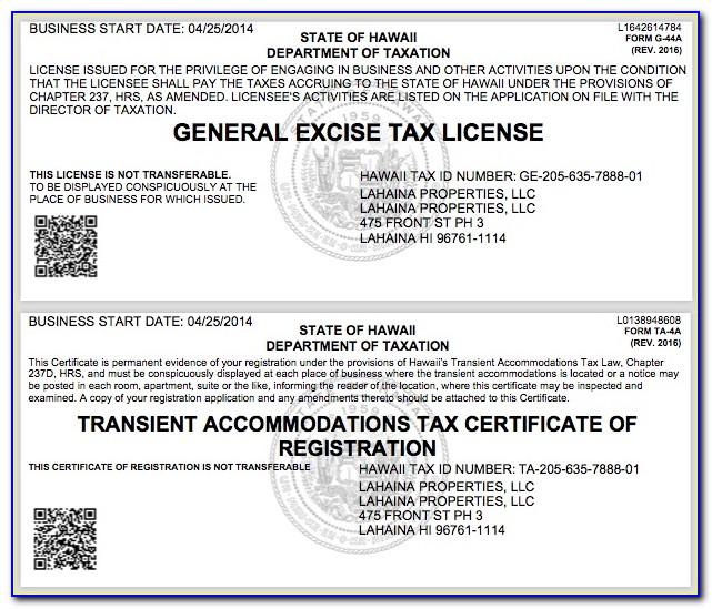 Hawaii Resale Certificate Verification