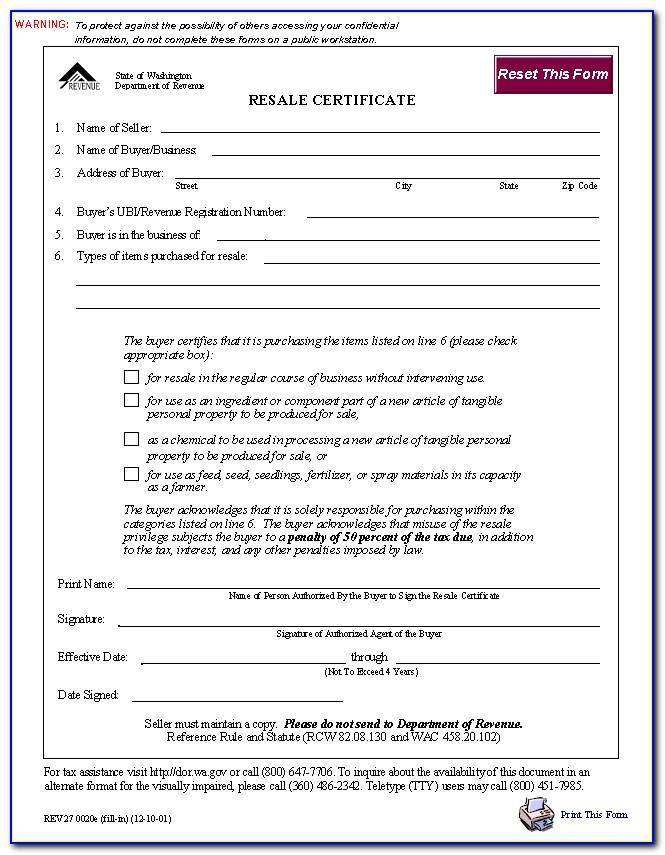 Hawaii State Resale Certificate