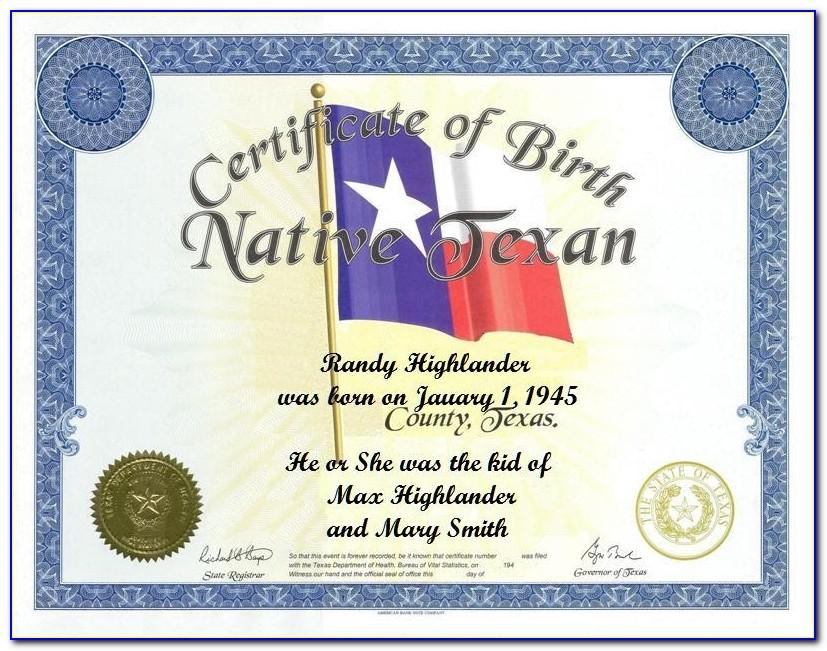 Heirloom Birth Certificate Texas