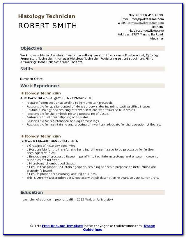 Histology Technician Certification Ascp