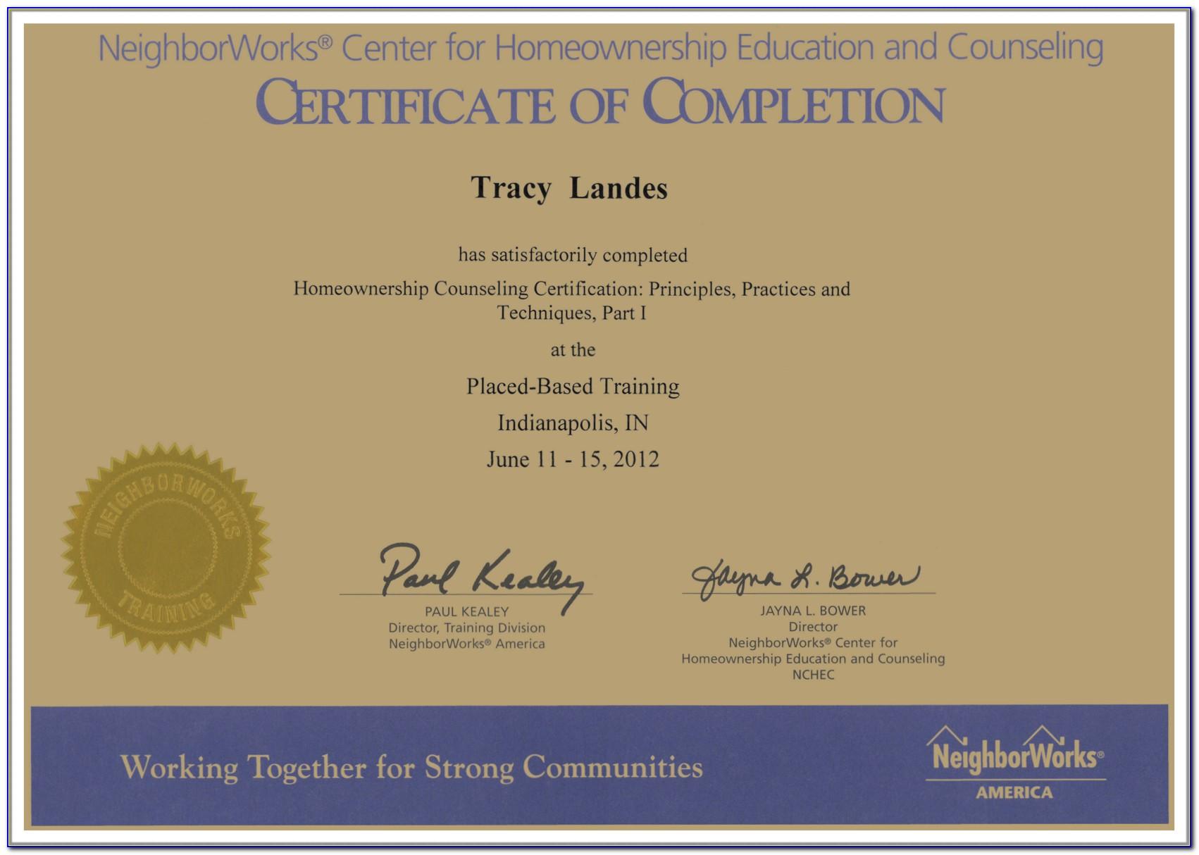Homebuyer Education Certificate Of Achievement