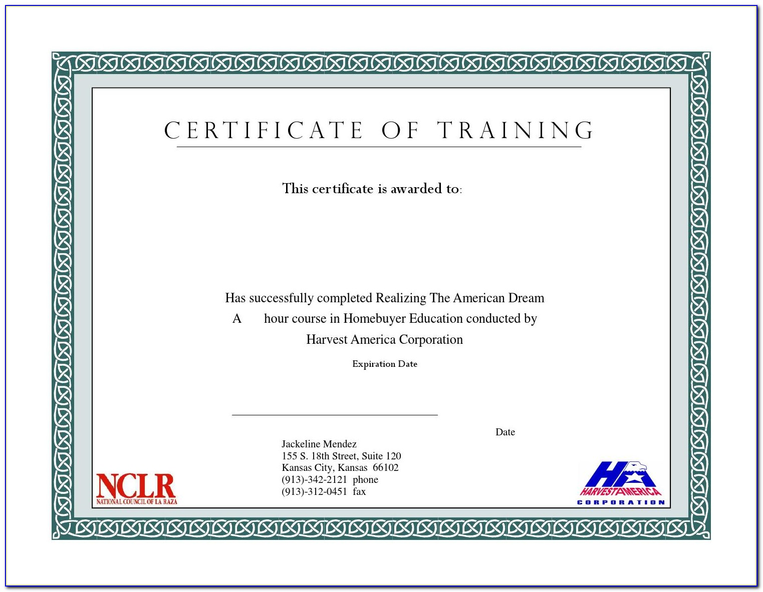 Homebuyer Education Course Certificate