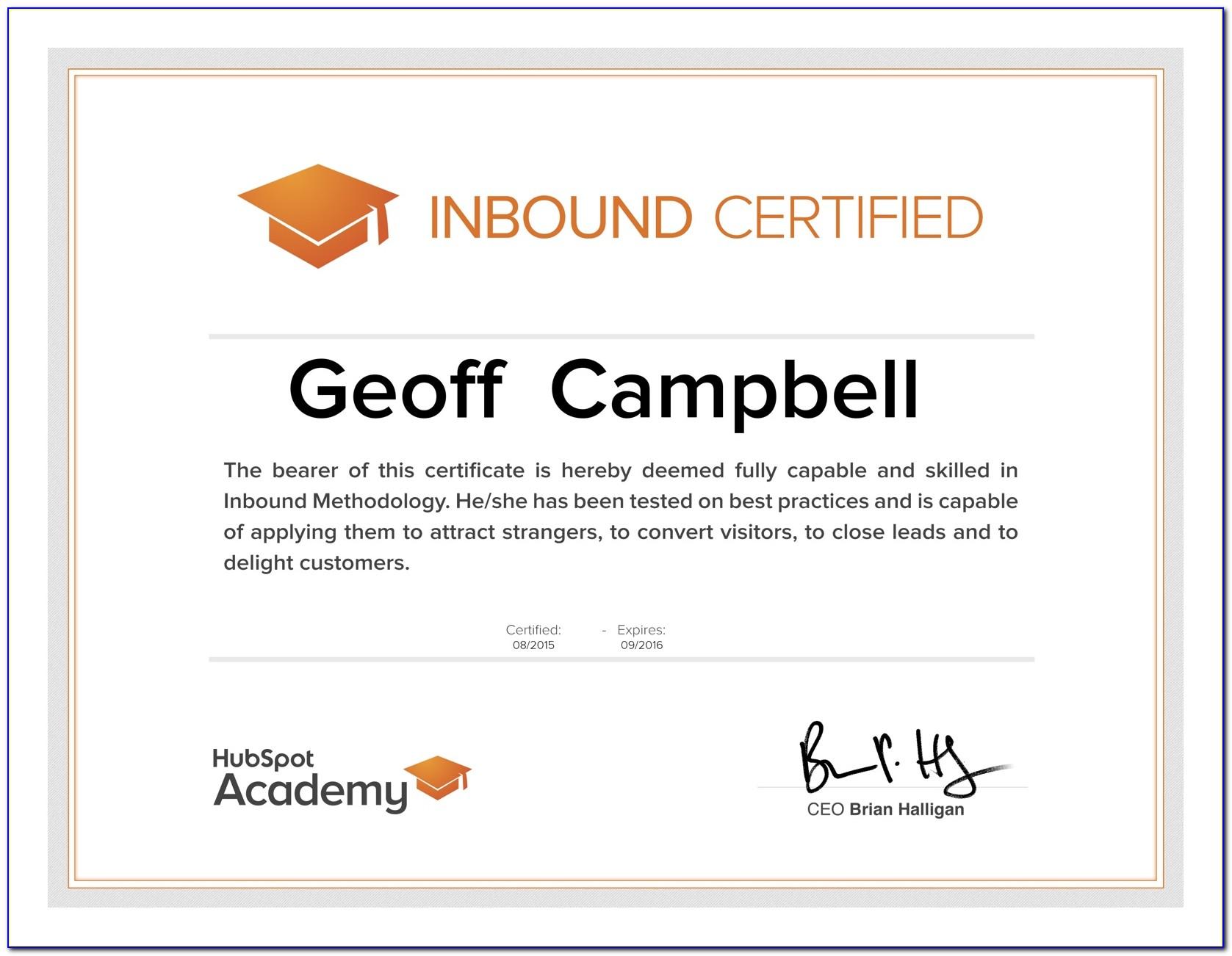 Hubspot Academy Certifications