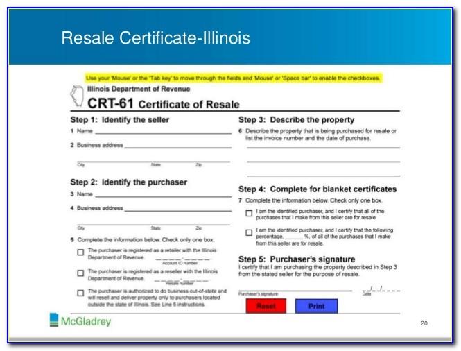Illinois Sales Tax Exemption Certificate Pdf