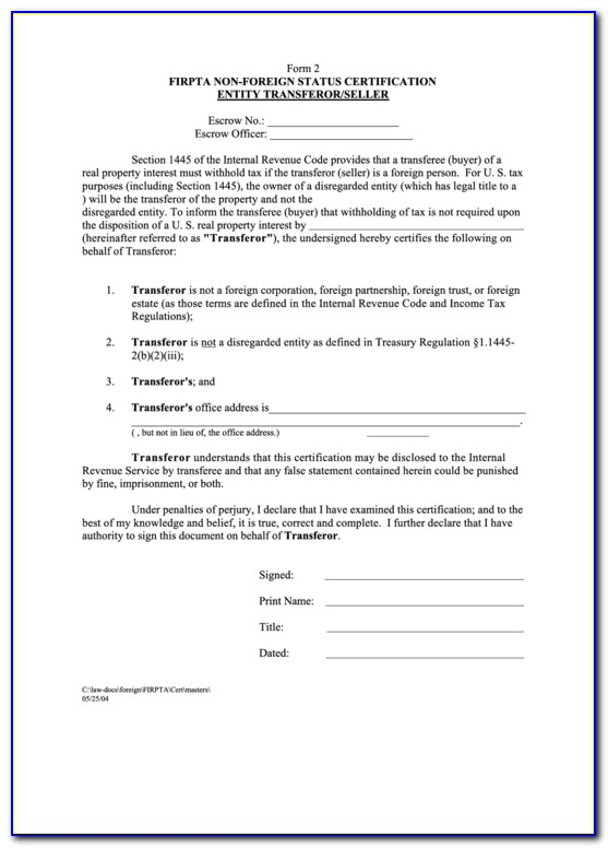Irs Firpta Withholding Certificate