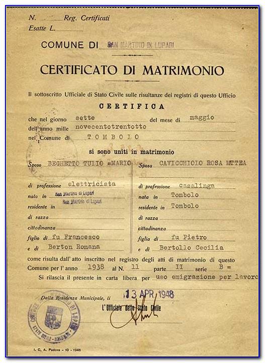 Italian Birth Certificate Request Form