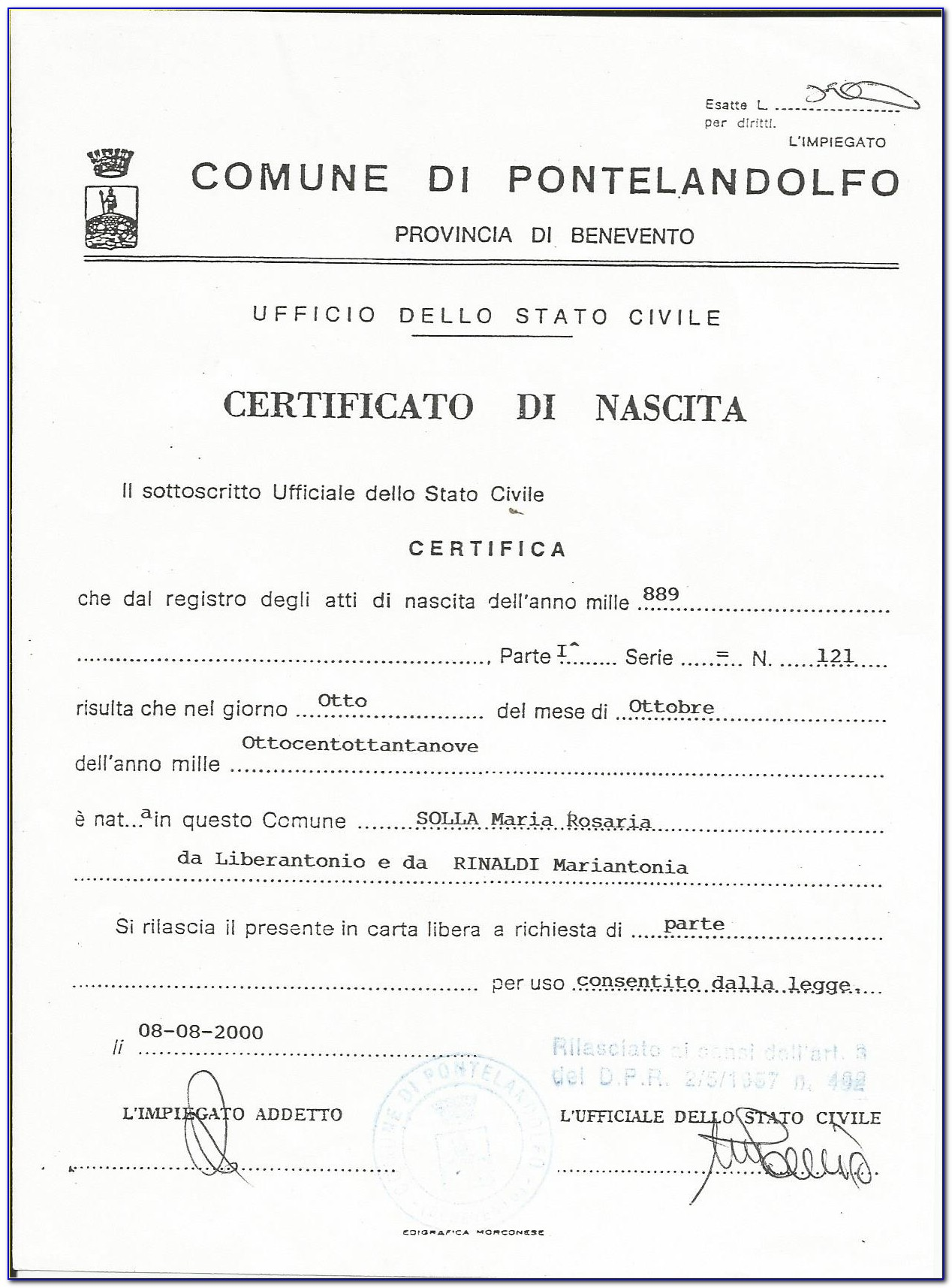 Italian Birth Certificate Request