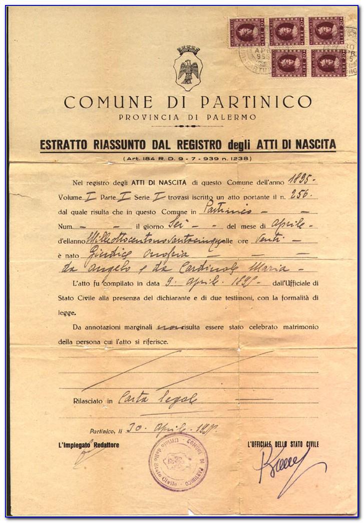 Italian Birth Certificate Sample