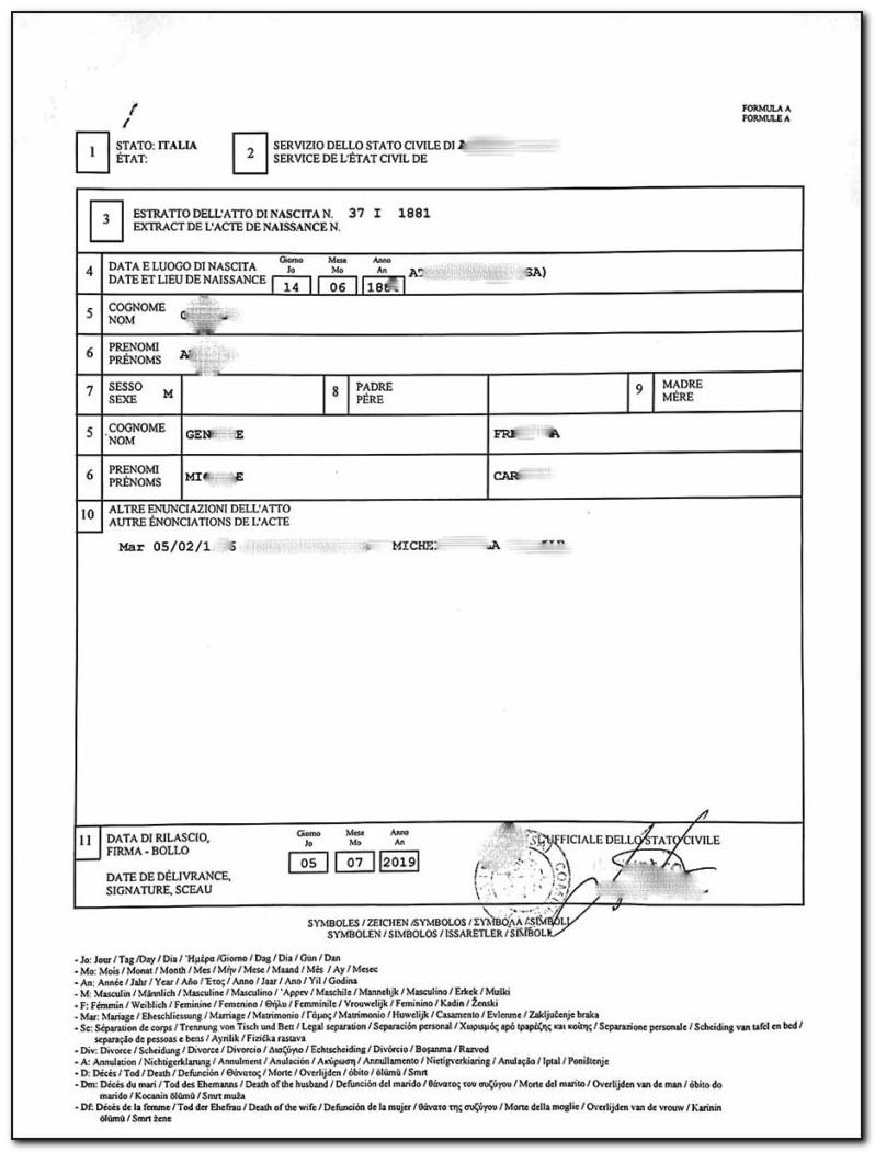 Italian Birth Certificate Template