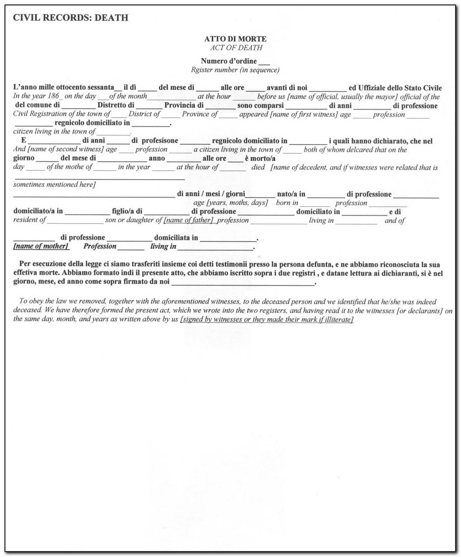 Italian Birth Certificate Translated English