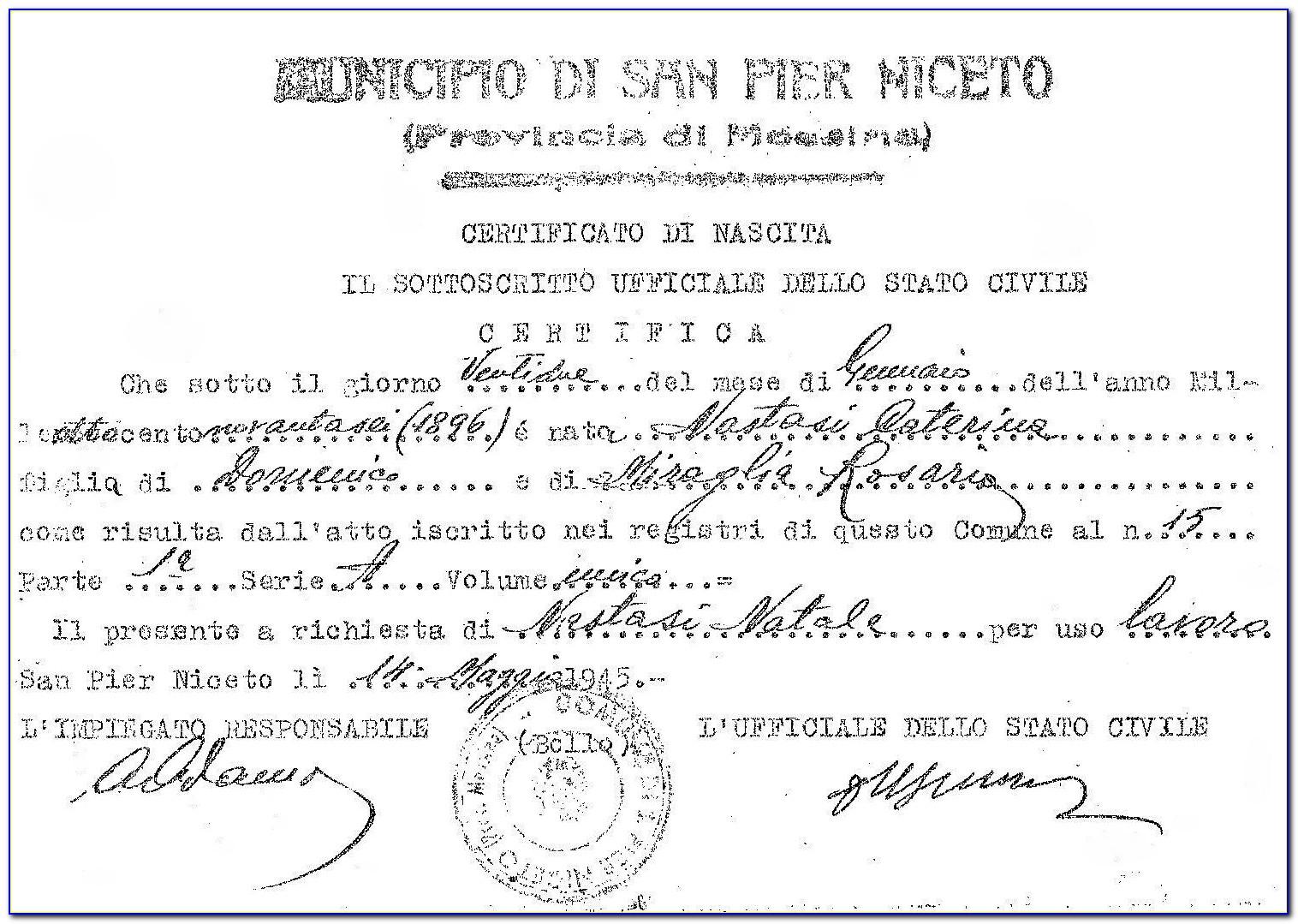 Italian Birth Certificate Translation