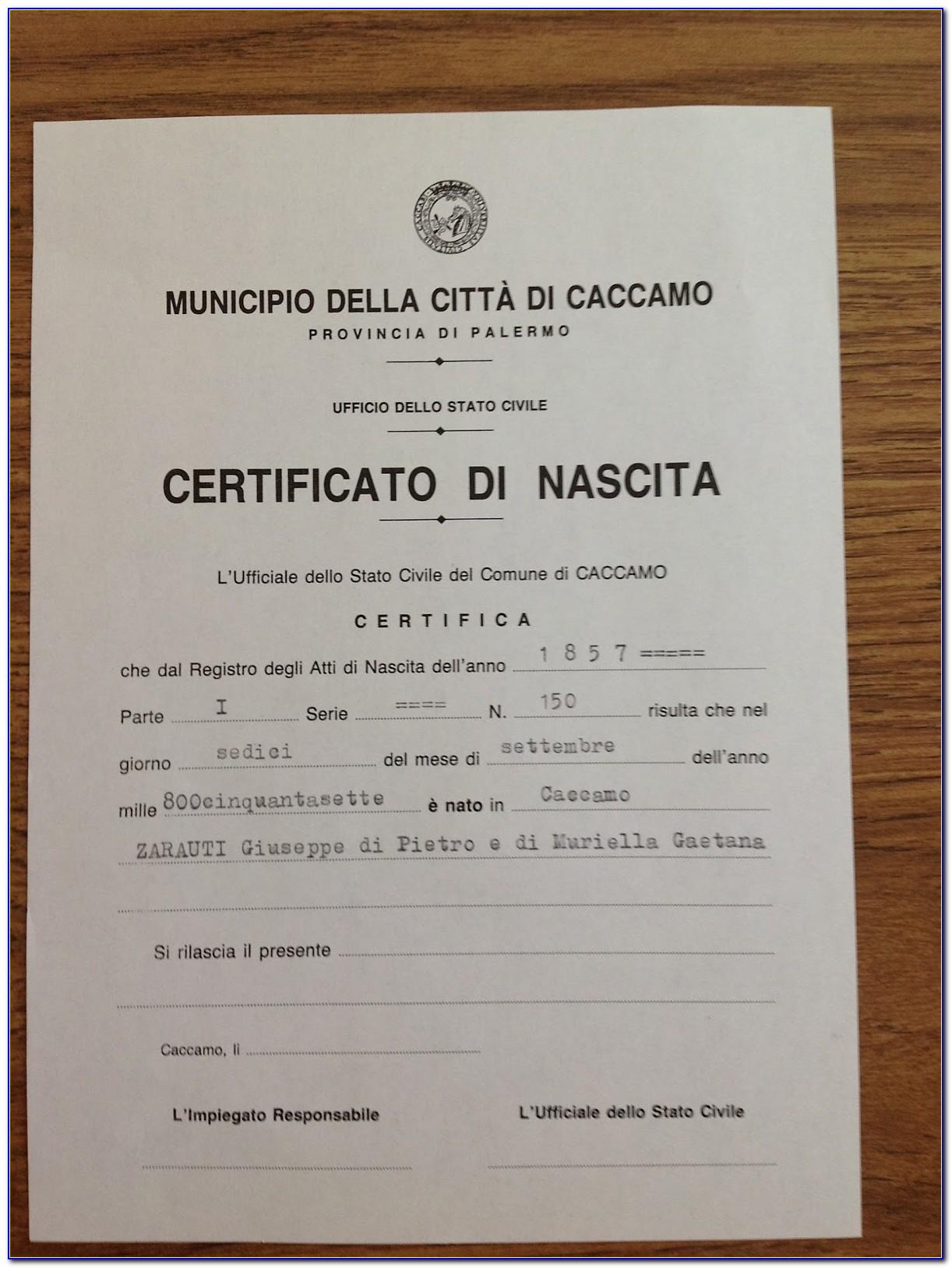 Italian Birth Certificates Searches