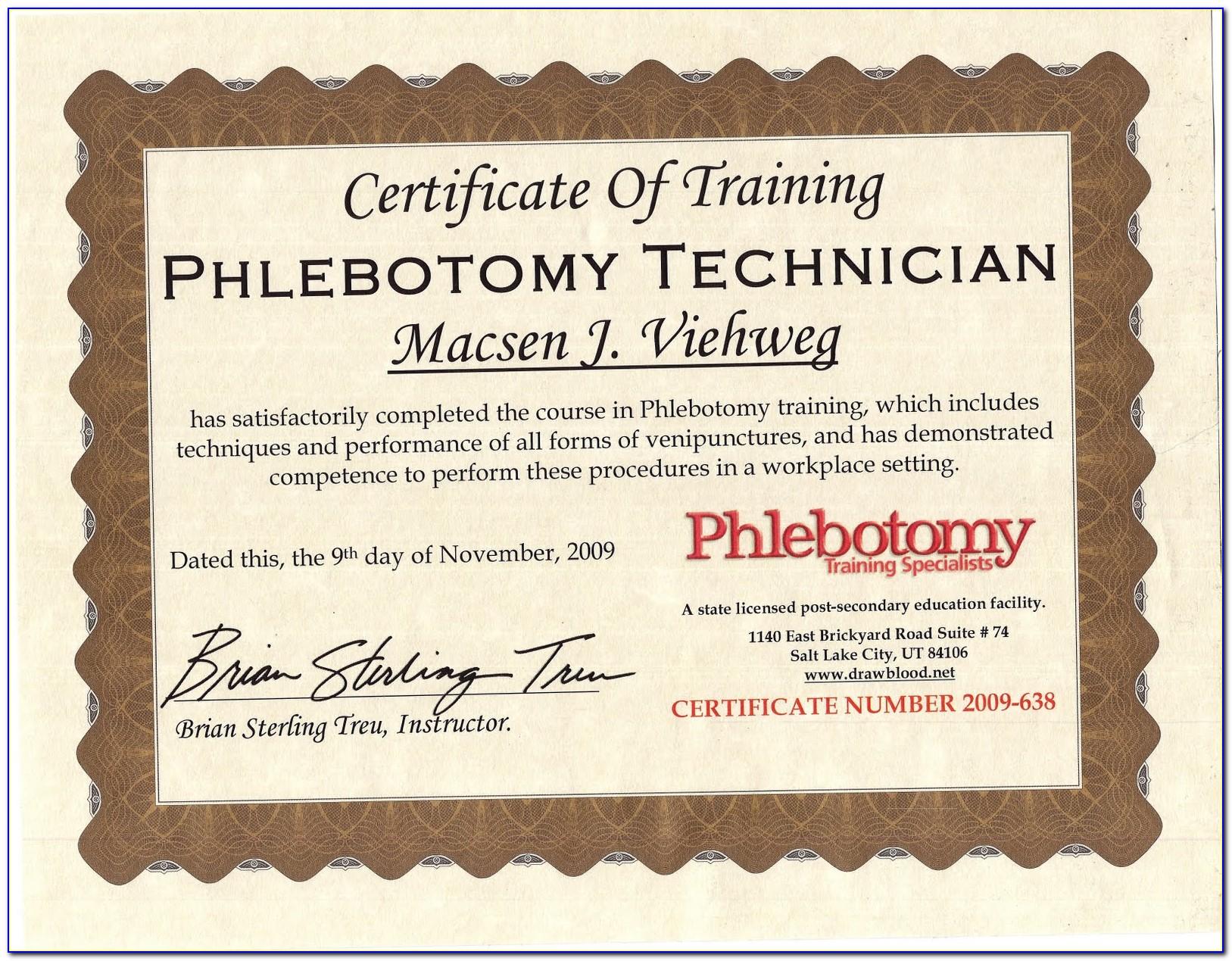 Iv Certification For Phlebotomist