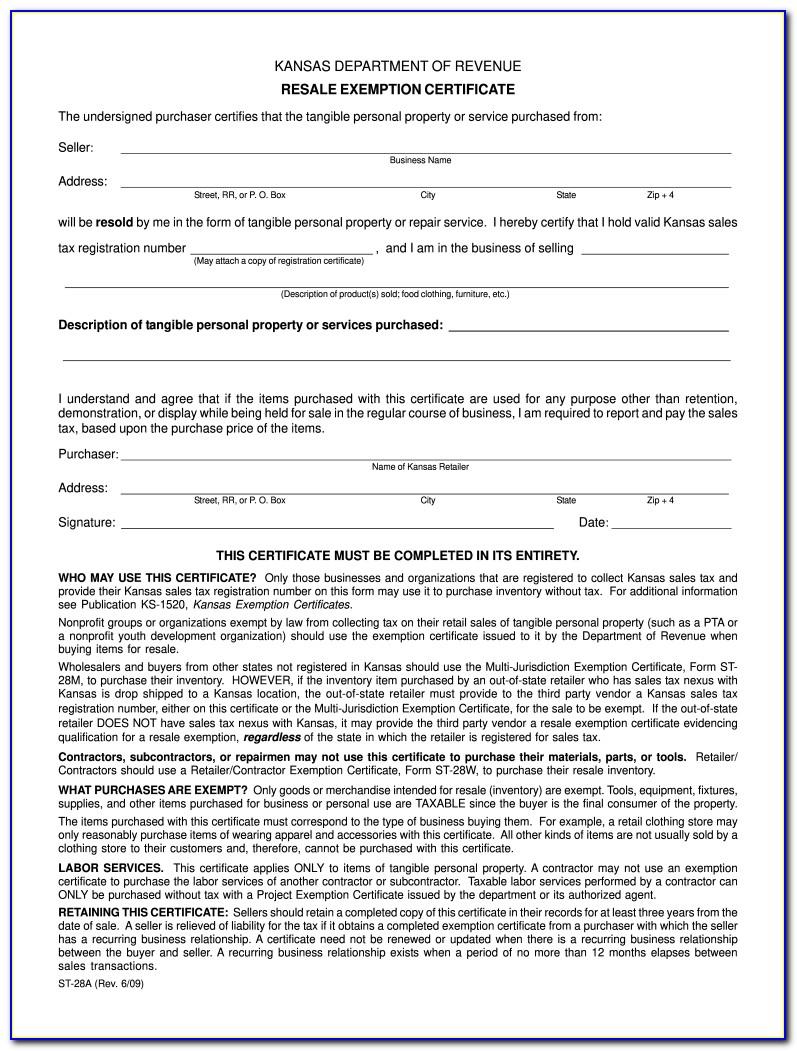 Kansas Resale Certificate Application