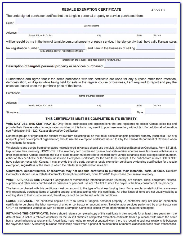 Kansas Resale Certificate Lookup