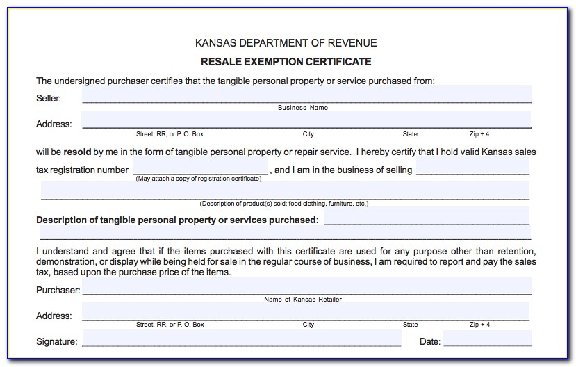 Kansas Resale Certificate Out Of State