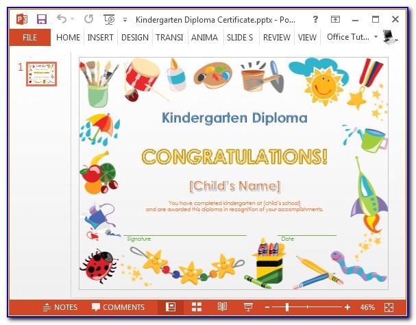 Kindergarten Graduation Certificate Sample