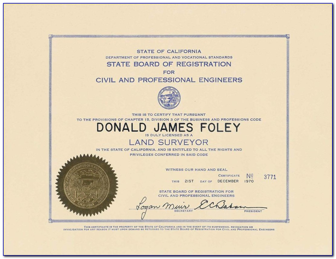Land Surveyor Certification California