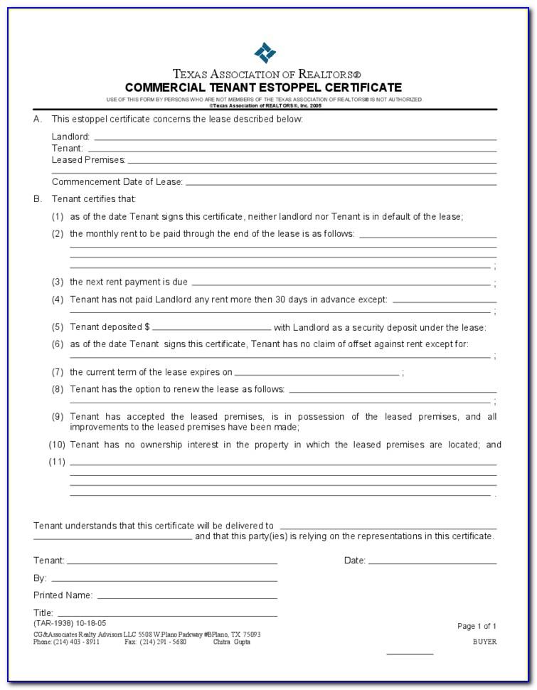 Landlord Estoppel Certificate Form