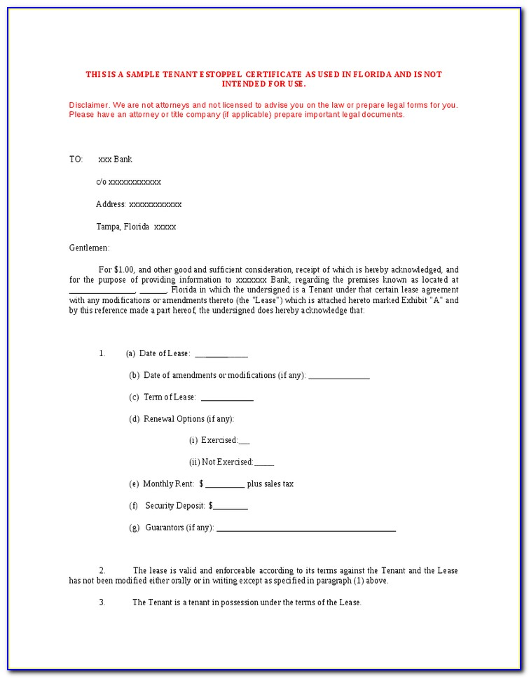 Lease Estoppel Certificate Form
