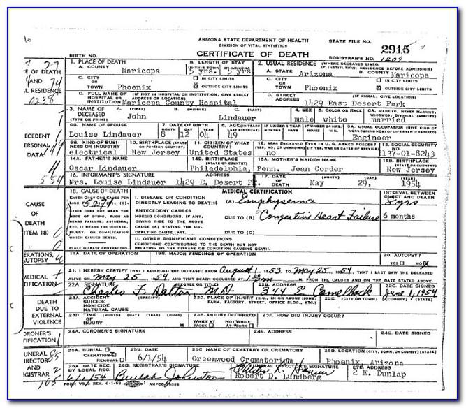 Maricopa County Death Certificate Copy