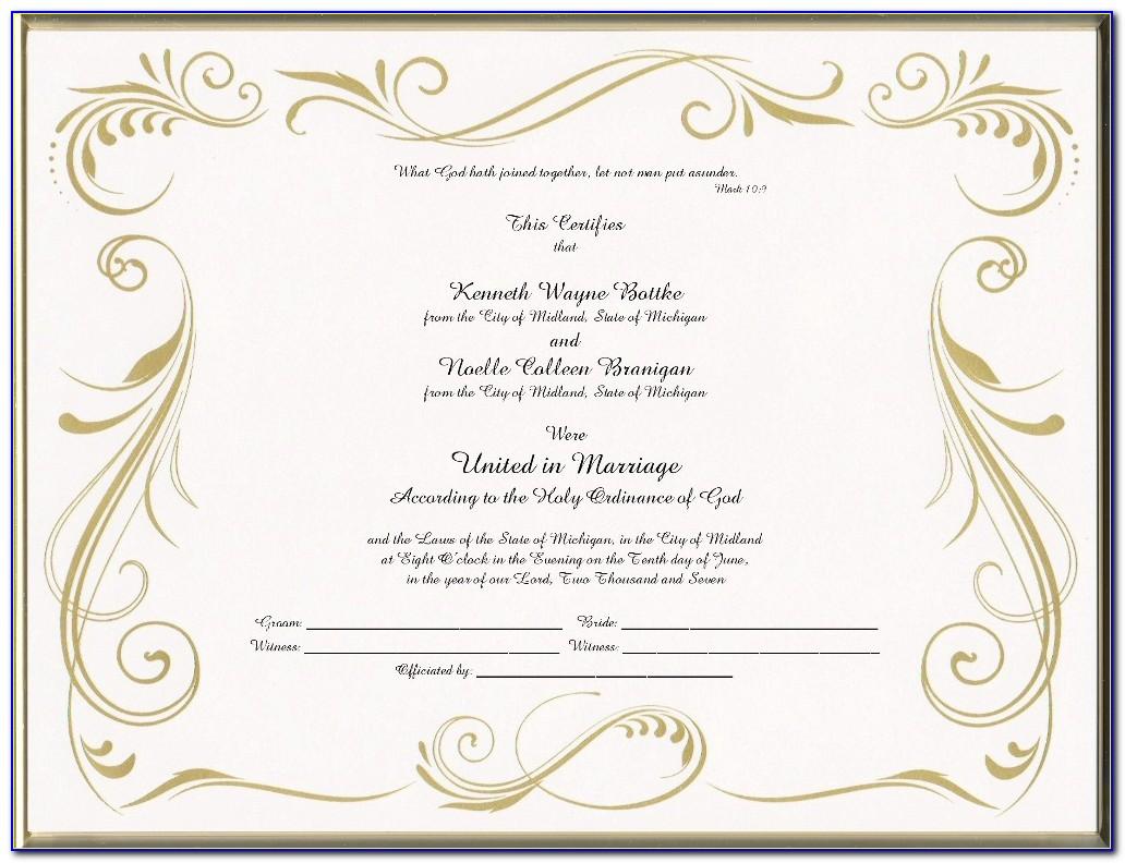 Marriage Certificate Keepsake Box