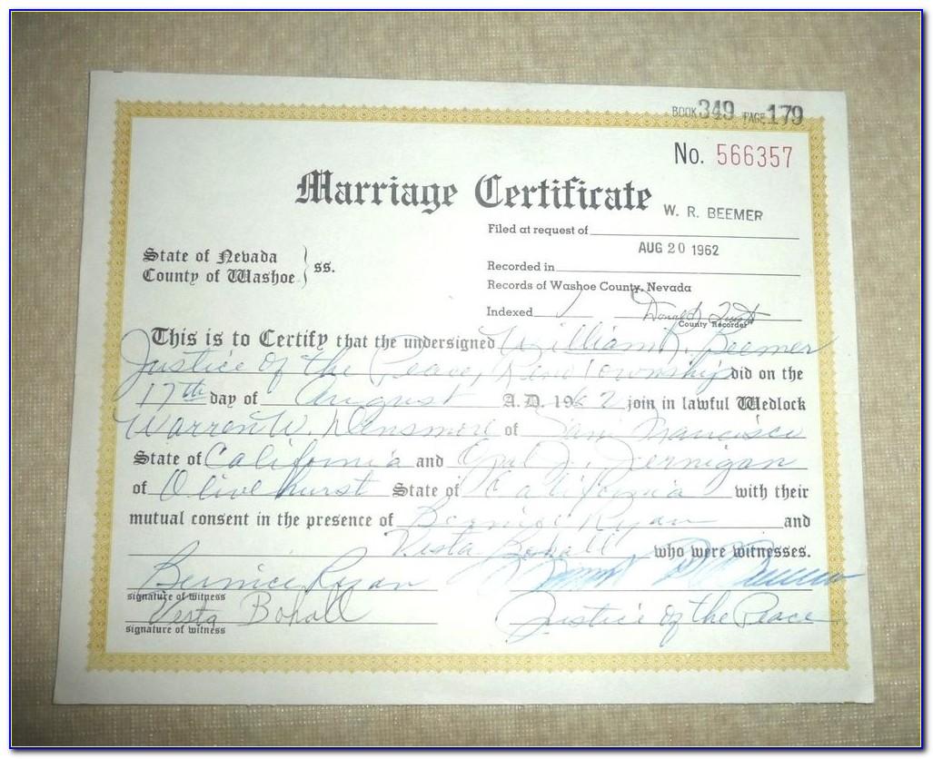 Marriage Certificate Reno Nv