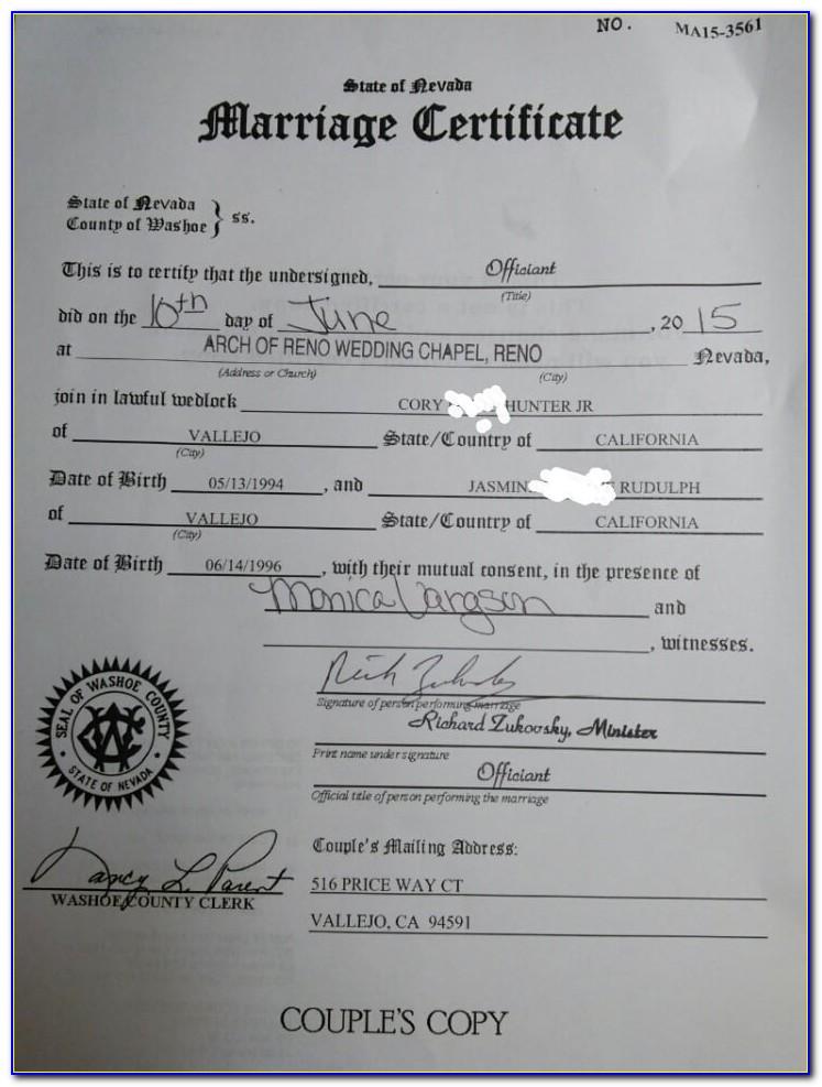 Marriage License Reno Nv