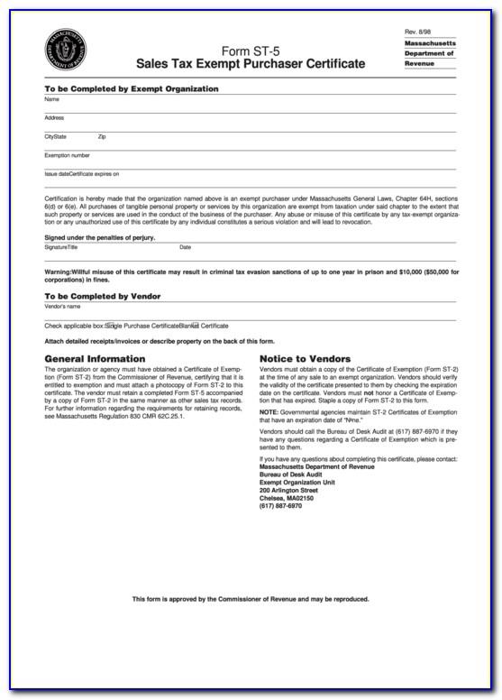 Massachusetts Sales Tax Exempt Purchaser Certificate (st 5)