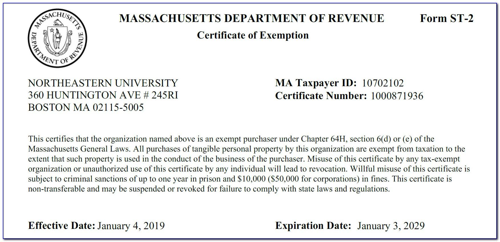 Massachusetts Sales Tax Exemption Certificate St 2