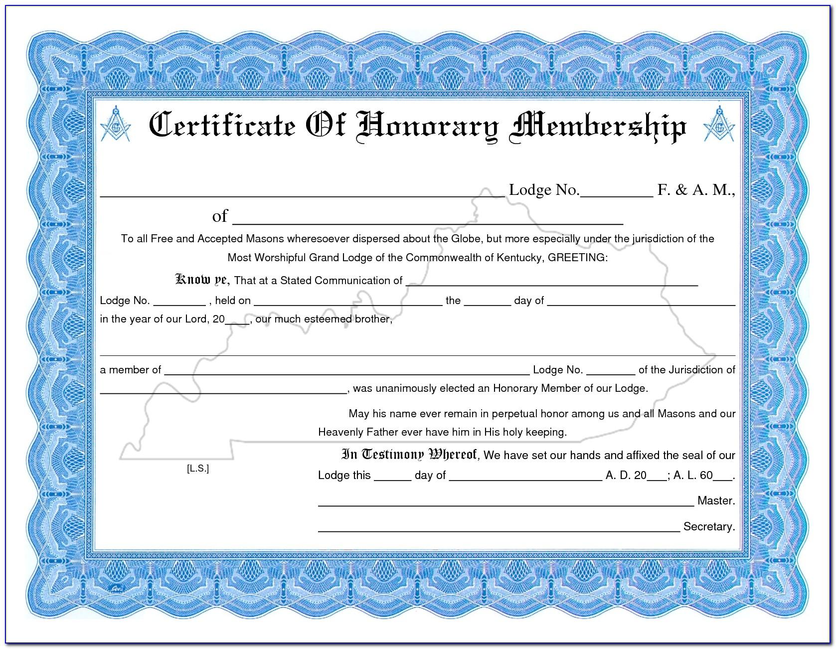 Membership Certificate Template Free Download